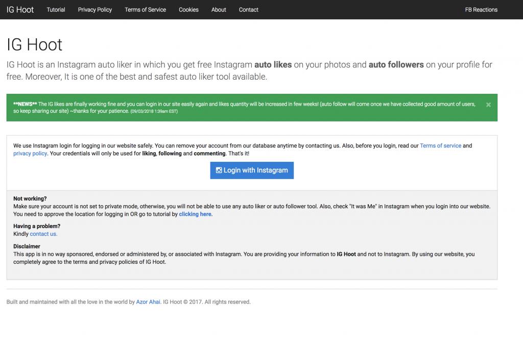 ig hoot instagram bot recensione - auto follow - come aumentare i follower su instagram